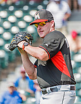 19 March 2015: Miami Marlins Manager Mike Redmond tosses some ball prior to a Spring Training game against the Atlanta Braves at Champion Stadium in the ESPN Wide World of Sports Complex in Kissimmee, Florida. The Braves defeated the Marlins 6-3 in Grapefruit League play. Mandatory Credit: Ed Wolfstein Photo *** RAW (NEF) Image File Available ***
