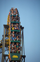 People on a roller coaster at Busch Gardens, Williamsburg, Virginia. Recreation,. Tourists. Williamsburg Virginia USA Tidewater.