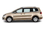Car Driver side profile view of a 2016 Volkswagen Sharan Confortline 5 Door Minivan Side View