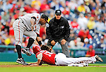 1 May 2011: Washington Nationals infielder Danny Espinosa steals third base under Miguel Tejada's tag during a game against the San Francisco Giants at Nationals Park in Washington, District of Columbia. The Nationals defeated the Giants 5-2. Mandatory Credit: Ed Wolfstein Photo
