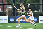 TAMPA, FL - MAY 20: Monica Sanna #5 of the Le Moyne Dolphins pushes the ball upfield against the Florida Southern Mocs during the Division II Women's Lacrosse Championship held at the Naimoli Family Athletic and Intramural Complex on the University of Tampa campus on May 20, 2018 in Tampa, Florida. Le Moyne defeated Florida Southern 16-11 for the national title. (Photo by Jamie Schwaberow/NCAA Photos via Getty Images)