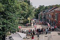 peloton up the steep Ridderstraat where the Jasper Stuyven corner is based<br /> <br /> 52nd GP Jef Scherens - Rondom Leuven 2018 (1.HC)<br /> 1 Day Race: Leuven to Leuven (186km/BEL)