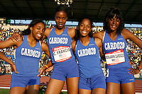 The quartet of Ahtyana Johnson, Claudia Francis, Tessa West and Chamique Francis of Benjamin Cardozo HS, Queens, NY won the High School Girls 4x400m Relay race with a time of 3:39.96 setting a Meet Record at the 2009 Reebok Grand Prix at Icahn Stadium, NYC on Saturday May 30, 2009. Photo by Errol Anderson, The Sporting Image.net
