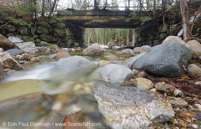 Old bridge, which crosses Lafayette Brook, along the Notchway Trail in Franconia, New Hampshire. The Notchway Trail is the main trail of the Lafayette Ski Trails and follows the old Route 3 between Route 141 and Route 18 in the town of Franconia.
