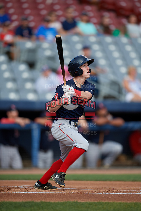 Lowell Spinners second baseman Grant Williams (11) flies out during a game against the Connecticut Tigers on August 26, 2018 at Dodd Stadium in Norwich, Connecticut.  Connecticut defeated Lowell 11-3.  (Mike Janes/Four Seam Images)
