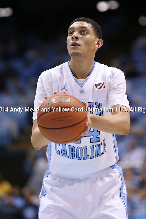 07 November 2014: North Carolina's Justin Jackson. The University of North Carolina Tar Heels played the Belmont Abbey College Crusaders in an NCAA Division I Men's basketball exhibition game at the Dean E. Smith Center in Chapel Hill, North Carolina. UNC won the game 112-34.