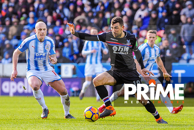 Crystal Palace's midfielder James McArthur (18) turns with the ball during the EPL - Premier League match between Huddersfield Town and Crystal Palace at the John Smith's Stadium, Huddersfield, England on 17 March 2018. Photo by Stephen Buckley / PRiME Media Images.