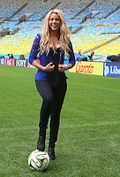Shakira Isabel Mebarak Ripoll poses on the Maracana pitch ahead of tomorrow's FIFA World Cup final Germany vs Argentina where she will perform during the closing ceremony