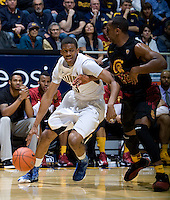 Tyrone Wallace of California dribbles the ball during the game against USC at Haas Pavilion in Berkeley, California on February 17th, 2013.  California defeated USC, 76-68.