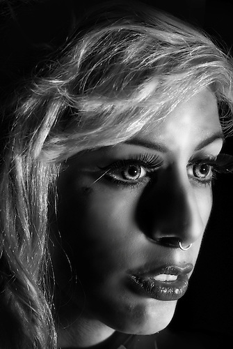 High contrast black and white female portrait. modeled by Fran Love : http://www.facebook.com/pages/MissFranLove/292525650814304