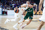 Real Madrid Rudy Fernandez and Panathinaikos Mike James during Turkish Airlines Euroleague Quarter Finals 4th match between Real Madrid and Panathinaikos at Wizink Center in Madrid, Spain. April 27, 2018. (ALTERPHOTOS/Borja B.Hojas)