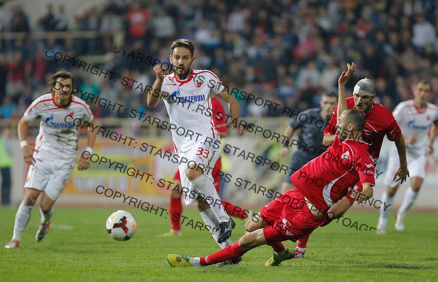 Fudbal Super liga season 2013-2014<br /> Radnicki Nis v Crvena Zvezda<br /> Milos Ninkovic (L) and Rados Bulatovic<br /> Nis, 26.10.2013.<br /> foto: Srdjan Stevanovic/Starsportphoto &copy;