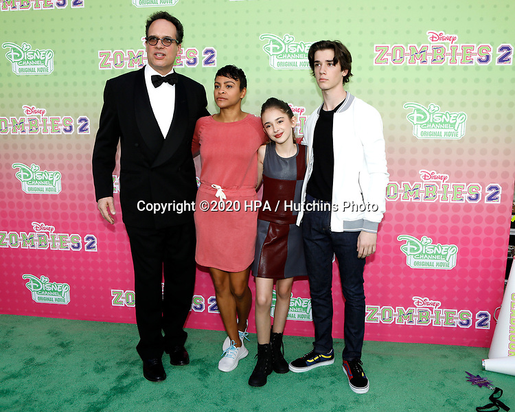 """LOS ANGELES - JAN 25:  Diedrich Bader, Carly Hughes, Julia Butters, Daniel DiMaggio at the """"Zombies 2"""" Screening at the Disney Studios on January 25, 2020 in Burbank, CA"""