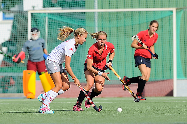 Mannheim, Germany, August 29: During the field hockey group match between Club an der Alster and Duesseldorfer HC on August 29, 2014 during the NH Hotels Cup 2014 at Mannheimer Hockey Club in Mannheim, Germany. (Photo by Dirk Markgraf / www.265-images.com) *** Local caption ***