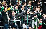 Stockholm 2015-02-16 Fotboll Tr&auml;ningsmatch Hammarby IF - LA Galaxy :  <br /> Hammarbys supportrar &auml;r glada p&aring; l&auml;ktaren under matchen mellan Hammarby IF och LA Galaxy <br /> (Foto: Kenta J&ouml;nsson) Nyckelord:  Fotboll Tr&auml;ningsmatch Tele2 Arena Hammarby HIF Bajen Los Angeles LA Galaxy supporter fans publik supporters glad gl&auml;dje lycka leende ler le