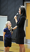 Miss Wisconsin Laura Kaeppeler took questions from the students during her visit to Blessed Sacrament School on Thursday, Oct. 6, 2011, including one from third grader Victoria Lueck. Ernie Mastroianni photo.