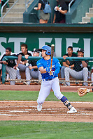 Zac Ching (25) of the Ogden Raptors at bat against the Grand Junction Rockies at Lindquist Field on July 23, 2019 in Ogden, Utah. The Raptors defeated the Rockies 11-4. (Stephen Smith/Four Seam Images)
