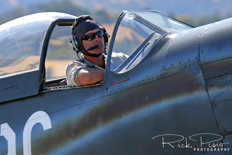 "Pilot Dan Vance taxies the P-51 Mustang ""Speedball Alice"" during a fly in at the Nut Tree Airport in Vacaville, California. Both pilot Dan Vance and the Mustang Speedball Alice are regular competitors at the Reno National Championship Air Races."