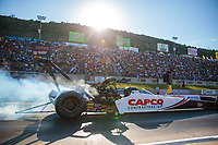 Jul 19, 2019; Morrison, CO, USA; NHRA top fuel driver Steve Torrence during qualifying for the Mile High Nationals at Bandimere Speedway. Mandatory Credit: Mark J. Rebilas-USA TODAY Sports