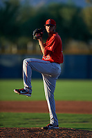 AZL Angels relief pitcher Tulio Santa Maria (48) during an Arizona League game against the AZL D-backs on July 20, 2019 at Salt River Fields at Talking Stick in Scottsdale, Arizona. The AZL Angels defeated the AZL D-backs 11-4. (Zachary Lucy/Four Seam Images)