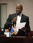 Nevada Sen. Kelvin Atkinson, D-North Las Vegas, speaks on the Senate floor at the Legislative Building in Carson City, Nev., on Friday, April 3, 2015. <br /> Photo by Cathleen Allison
