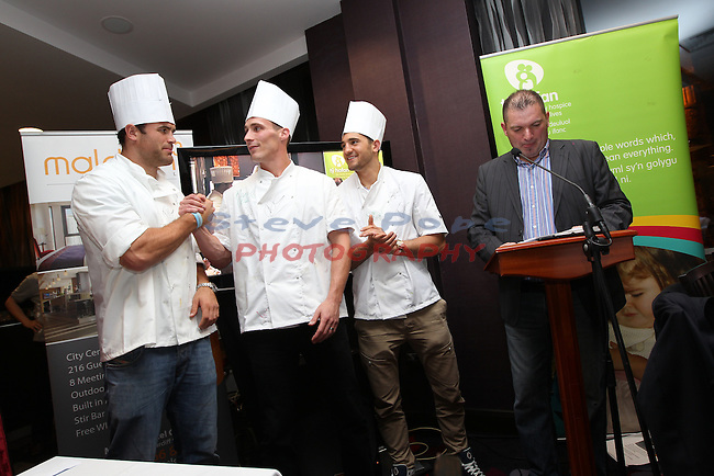 Ty Hafan Celebrity Chef.Jamie Roberts, Simon Jones, Nathan Cleverly & Frank Ady..Maldron Hotel.26.09.12.©Steve Pope