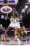 COLUMBUS, OH - APRIL 1: Teaira McCowan #15 and Victoria Vivians #35 of the Mississippi State Bulldogs fight for a rebound against Kathryn Westbeld #33 of the Notre Dame Fighting Irish during the championship game of the 2018 NCAA Division I Women's Basketball Final Four at Nationwide Arena in Columbus, Ohio. (Photo by Justin Tafoya/NCAA Photos via Getty Images)