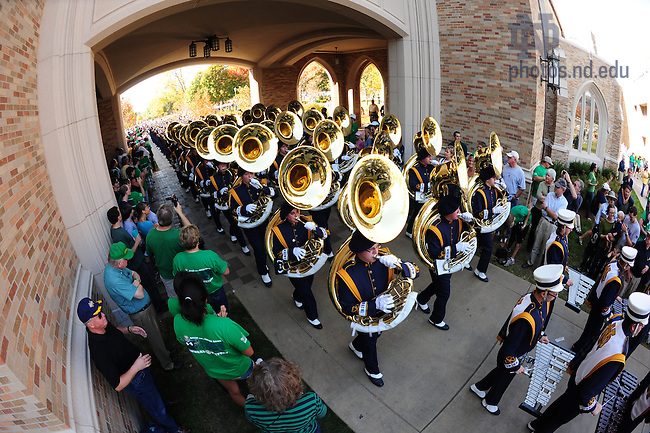 Oct. 29, 2010; The Marching Band marches under the Law School arch to the stadium.