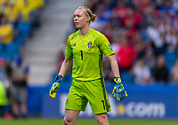 LE HAVRE,  - JUNE 20: Hedvig Lindahl #1 looks for the ball during a game between Sweden and USWNT at Stade Oceane on June 20, 2019 in Le Havre, France.