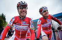 Fleche Wallonne 2012..Joaquim Rodriguez in good spirits before the start. 194km further down in Huy he'd win his first ever major 1day race.