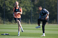 (L-R) Oliver McBurnie and Martin Olsson in action during the Swansea City Training Session at The Fairwood Training Ground, Swansea, Wales, UK. Thursday 27 September 2018