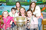 CUP: Photographed with the Sam McGuire Cup in Ballyduff National School on Friday night were Edel Slattery, Jacinta Dalton, Aoife OCarroll, Nadine and Nicole OGrady and Michele Regan..