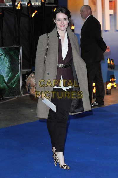 Claire Foy.'The Life Of Pi' UK film premiere, Empire cinema, Leicester Square, London, England.3rd December 2012.full length leopard print shoes black trousers white shirt maroon burgundy white shirt jacket.CAP/BEL.©Tom Belcher/Capital Pictures.