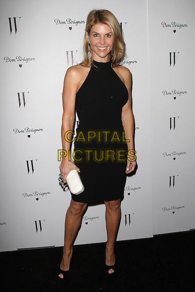 Lori Loughlin.W Magazine's 69th Annual Golden Globe Awards Celebration held at The Chateau Marmont, West Hollywood, California, USA, 13th January 2012..full length  black dress halterneck  peep toe shoes white clutch bag .CAP/ADM/KB.©Kevan Brooks/AdMedia/Capital Pictures.