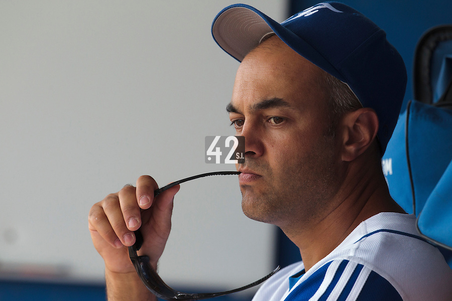 26 july 2010: Team France manager Sylvain Virey is seen in the dugout during France 10-2 victory over Ukraine, in day 4 of the 2010 European Championship Seniors, in Neuenburg, Germany.