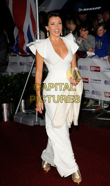 DANNII MINOGUE.The Pride of Britain Awards, London Television Centre, South Bank, London, England, UK, .September 30th, 2008 .full length white long maxi dress shoulders sleeves ruffle gold clutch bag shoes .CAP/CAN.©Can Nguyen/Capital Pictures.
