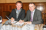 REDEVELOPMENT: Arthur Spring (Mayor of Tralee) and  Michael McMahon (Town Manager) signing the contract for the redevelopment of the former convent at Moyderwell on Tuesday morning.