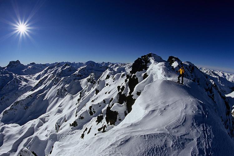 Lionel Lacroix reaching top of Chüealphorn, Graubünden, Switzerland, 2007