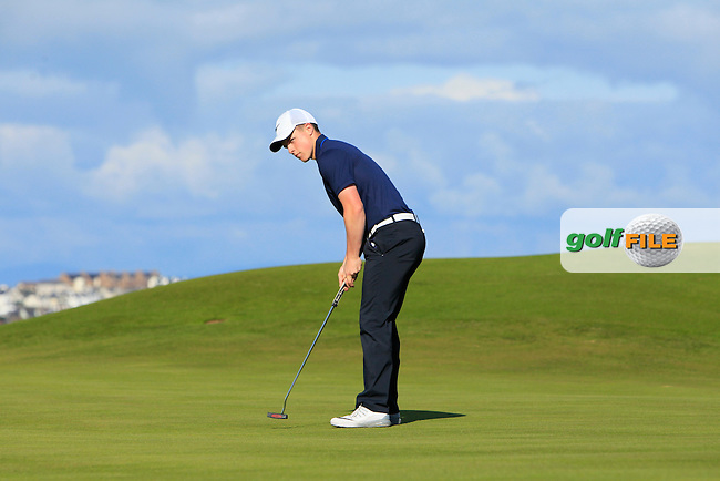 Conor Purcell (Portmarnock) on the 3rd green during Round 3 of Matchplay in the North of Ireland Amateur Open Championship at Portrush Golf Club, Portrush on Thursday 14th July 2016.<br /> Picture:  Thos Caffrey / www.golffile.ie