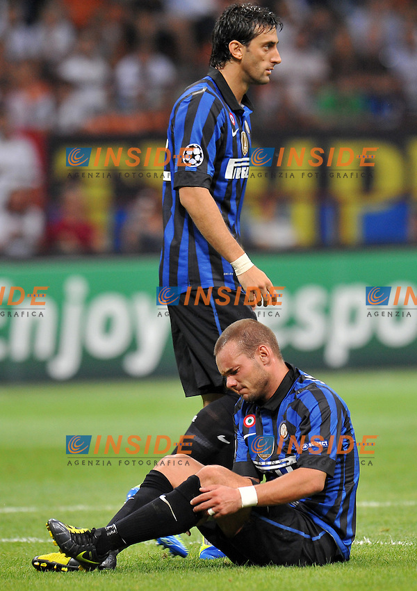 "Wesley SNEIJDER, Diego MILITO (Inter).Milano 14/9/2011 Stadio ""Giuseppe Meazza"".Serie A 2011/2012 UEFA Champions League.Football Calcio Inter Vs Trabzonspor.Foto Insidefoto Alessandro Sabattini."