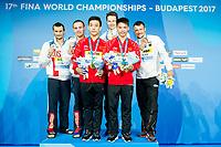 Medals Ceremony <br /> CHEN Aisen, YANG Hao CHN Gold Medal<br /> BONDAR Aleksandr, MINIBAEV Viktor RUS Silver Medal<br /> HAUSDING Patrick, KLEIN GER Sascha  Bronze Medal<br /> Men's 10m Synchro Platform Final<br /> Day 04 17/07/2017 <br /> XVII FINA World Championships Aquatics<br /> Duna Arena Budapest Hungary July 15th - 30th 2017 <br /> Photo @A.Masini/Deepbluemedia/Insidefoto