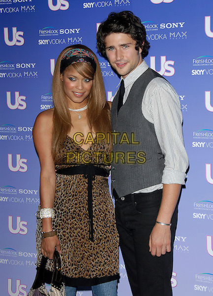 BLU CANTRELL & MATT DALLAS.Attends The US Weekly Magazine Hot Hollywood .Fresh 15 Party, held at Area in Los Angeles, .California, USA, September 21st 2006..half length leopard print dress black head scarf hair scarf.Ref: DVS.www.capitalpictures.com.sales@capitalpictures.com.©Debbie VanStory/Capital Pictures