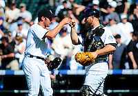 April 29, 2009: Rockies relieving pitcher Huston Street celebrates a win with catcher Chris Iannetta after a game between the San Diego Padres and the Colorado Rockies at Coors Field in Denver, Colorado. Street earned the save. The Rockies beat the Padres 7-5.