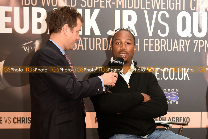 Lennox Lewis is interviewed during a Poxon Sports Press Conference at the Apex Room on 2nd February 2017