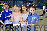 Students from Mercy Mounthawk Secondary School, Tralee, who received their Junior Certificate results on Wednesday morning were l-r: Brian Fox (The Spa) 7a's 4b's, Aeda O'Connor (Tralee) 7a's, Sinead Deasy (Tralee) 7a's and Carla Hanafin (Tralee)8a's.