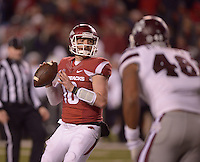 NWA Democrat-Gazette/BEN GOFF @NWABENGOFF<br /> Brandon Allen, Arkansas quarterback, looks for a receiver in the second quarter against Mississippi State on Saturday Nov. 21, 2015 during the game in Razorback Stadium in Fayetteville.