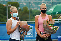 18th July 2020, Cannes, France;  Fiona Ferro France and Kristina Mladenovic France  celebrate their final trophies at the Challenge Elite FFT tournament