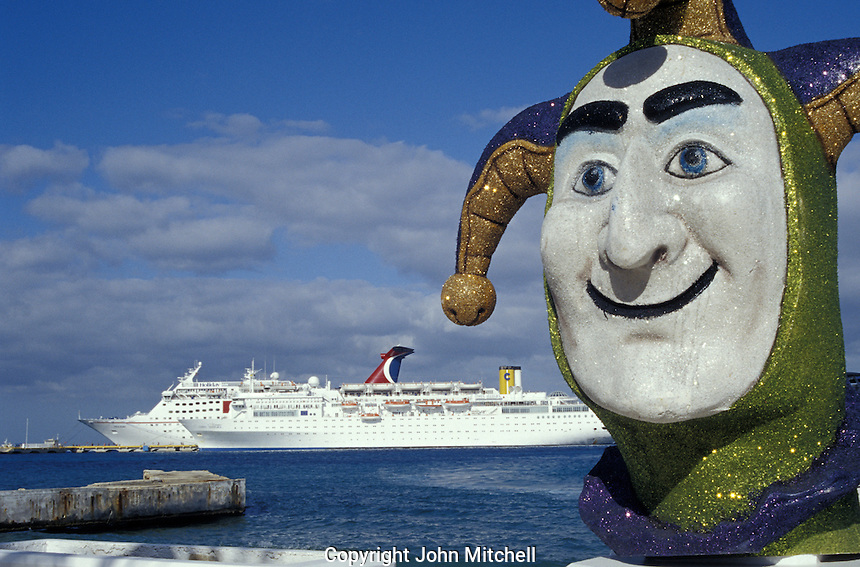 Jester scuplture with cruise ship in Background, Isla de Cozumel, Quintana Roo, Mexcio