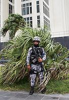 Naval soldier on guard in the Port city of Veracruz. Puerto de Veracruz, Mexico