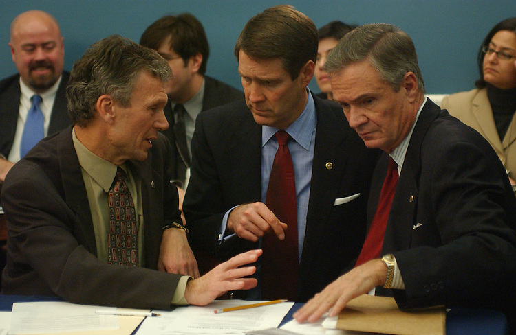 11/20/03.MEDICARE CONFERENCE--Senate Minority Leader Tom Daschle, D-S.D., Senate Majority Leader Bill Frist, R-Tenn., and Sen. John B. Breaux, D-La., talk before the meeting of the Medicare Conference..CONGRESSIONAL QUARTERLY PHOTO BY SCOTT J. FERRELL